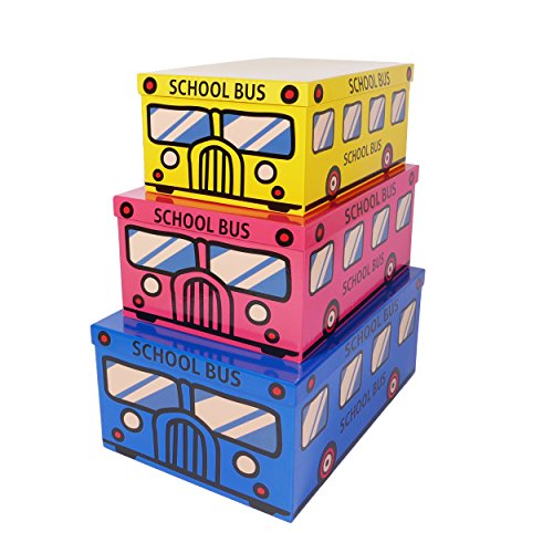 SLPR Decorative Storage Cardboard Boxes (Set of 3, School Bus) | Nesting Gift Boxes with Lid for Keepsake Toys Closet Nursery Office Bedroom Decoration
