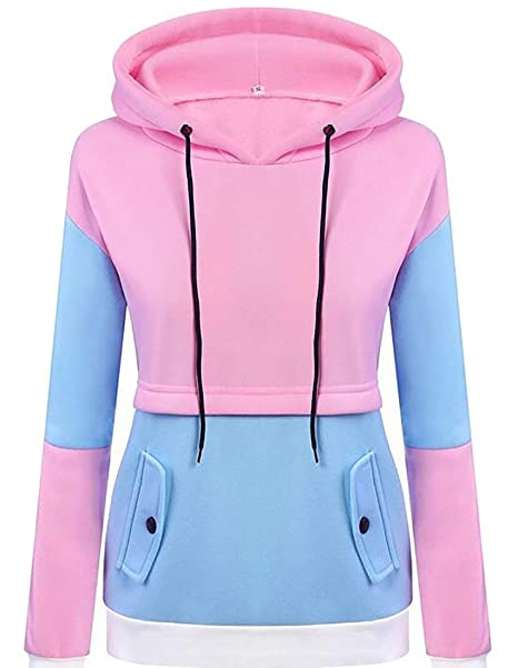 2ae1e1840ae7c Alion Women s Autumn Long Sleeve Warm Patchwork Drawstring Hooded Sweatshirt  at Amazon Women s Clothing store