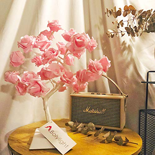 Bolylight LED Table Lamp Adjustable Rose Flower Desk Lamp Night Light Centerpiece Great Decor for Home/Christmas/Party/Festival/Wedding USB/Battery Powered, Pink