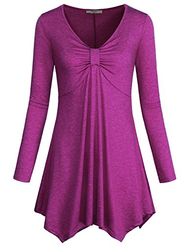 Cestyle Irregular Blouse, Women Clothing Twist Knot Front Pleat Plain Flattering T Shirt Extra Knitted Long Sleeve Tunic Tops Magenta - Cloth Knot Womens