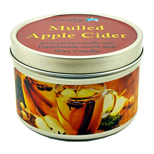 (Mulled Apple Cider, Fall Scented Soy Candle Tin (6 oz), Autumn Candles)