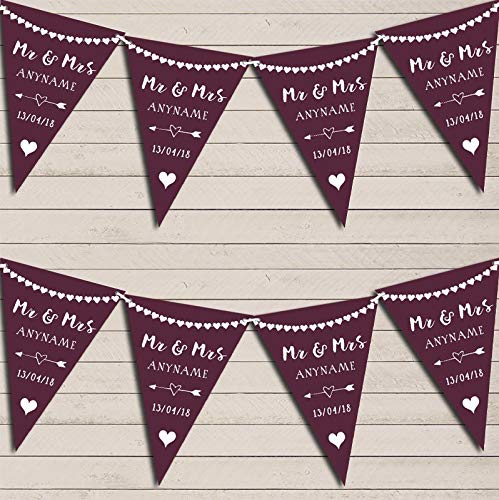 Heart Mr & Mrs Eggplant Aubergine Wedding Day Married Bunting Party Venue Decoration Party Flag Banner Garland