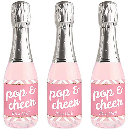 Hello Little One - Pink and Gold - Mini Wine and Champagne Bottle Label Stickers - Girl Baby Shower Favor Gift for Women and Men - Set of 16