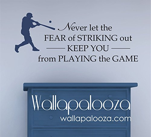 43SabrinaGill Never let the fear of Striking Out Baseball Wall Decal for Kids Room Decor ()
