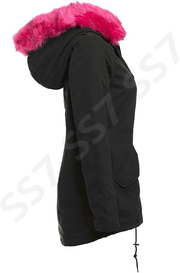 SS7 femmes rose fausse fourrure manteau parka, Tailles 8