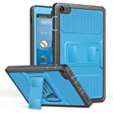 MoKo Case for All-New Amazon Fire HD 8 Tablet (7th and 8th Generation, 2017 and 2018 Release) - [Heavy Duty] Shockproof Full Body Rugged Cover Built-in Screen Protector for Fire HD 8, Blue & Dark Gray
