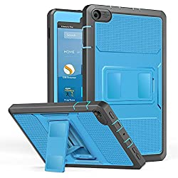 MoKo Case for All-New Amazon Fire HD 8 Tablet (7th Generation, 2017 Release Only) - [Heavy Duty] Shockproof Full Body Rugged Cover with Built-in Screen Protector for Fire HD 8, BLUE & Dark GRAY