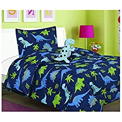 All American Collection New 3pc Children's Comforter Set with Furry Toy (Twin, DINOSAUR)