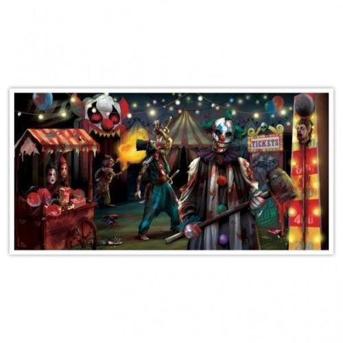 Amscan Creepy Carnival Fairground Horizontal Plastic Scene Setter Banner ()