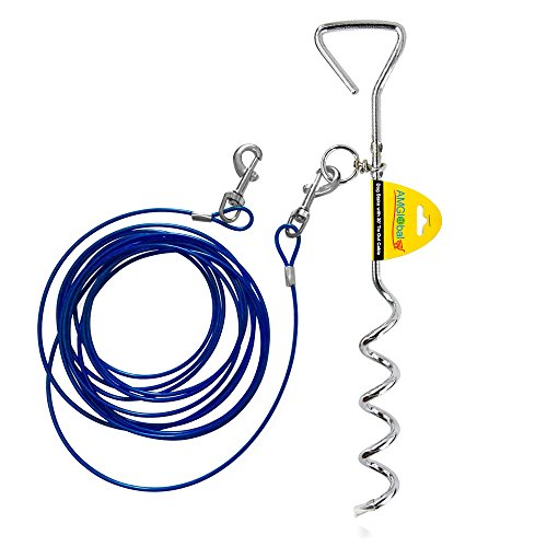 Retractable Chain Chrome Plated (Dog Tie Out Cable, AMGlobal Dog Tie Out Carbon Steel Stake, and 16 ft Complete Leash and Tether Spiral Tie-Out Up to 60 Pound for Outdoor, Yard and Camping -)