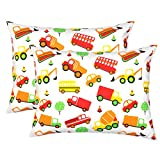 Mellanni Toddler Pillowcase Set Cars - Pack of 2 Toddler Size 14'' x 19'' - Super Soft HIGHEST QUALITY Kids Bedding (Set of 2 Pillowcases, Cars)