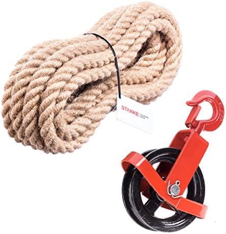 Seilwerk STANKE 150 mm Polea + Gancho + Cuerda de Yute 5 m de 6 mm Carrete de Cuerda Rueda Canal Tirando Poleas Polea de Construcción Ascensor Juego