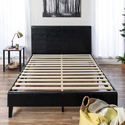 Best Choice Products Modern Full Size Faux Leather Platform Bed Frame w/Wooden Slats, Headboard, Footboard - Black
