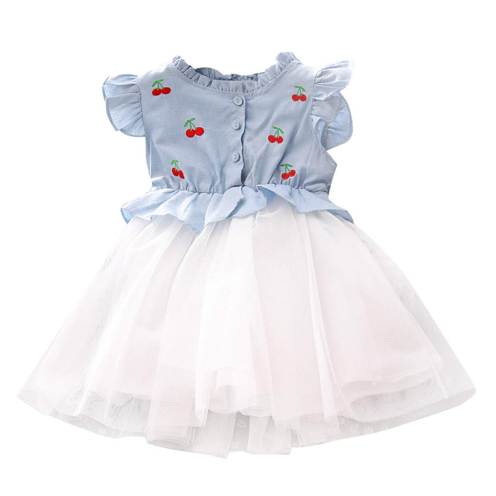 e13fb28b4 Amazon.com: Toddler Kids Baby Girls Dress Cherry Embroidery Tulle Party  Princess Dresses: Clothing