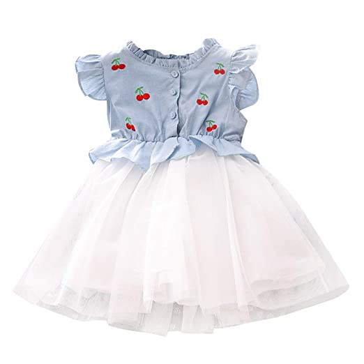 0a181bd228499 Amazon.com: Girls Princess Dress Denim Tops Cherry Embroidery Tutu Skirts  Casual Party Ruffles Tulle Dresses: Clothing