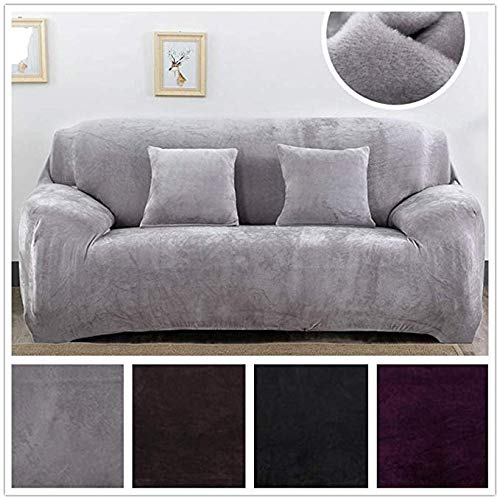Sofa Cover, Sofa Slipcovers Cushion for Leather Couch 1/2/3/4 Set Furniture Easy Fit Thick Plush Velvet Couch Stretch for Living Room