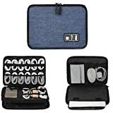 Electronics Organizer, Jelly Comb Electronic Accessories Cable Organizer Bag Waterproof Travel Cable Storage Bag for Charging Cable, Power Bank, iPad (Up to 11'' and More-Large(Black and Blue)