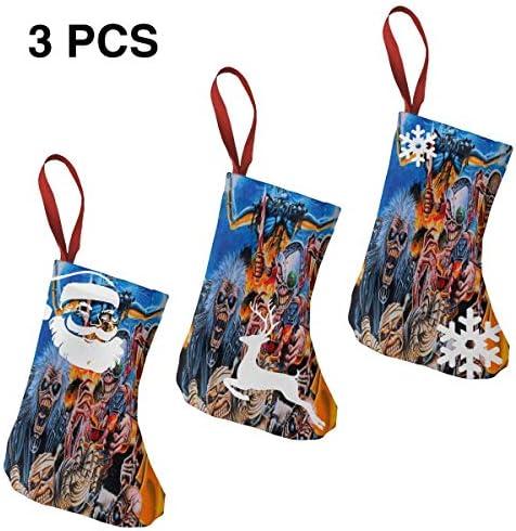 クリスマスの日の靴下 (ソックス3個)クリスマスデコレーションソックス 音楽メタルIron Maiden クリスマス、ハロウィン 家庭用、ショッピングモール用、お祝いの雰囲気を加える 人気を高める、販売、プロモーション、年次式