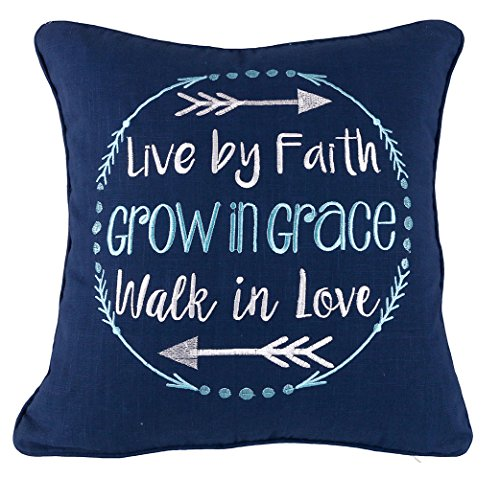 YugTex Pillowcases Live by faith Inspirational Embroidered Throw Pillow Cover Gifts for her women Quote Decorative pillowcase Typography Wedding Anniversary Couple Lovers Cushion Cover (18