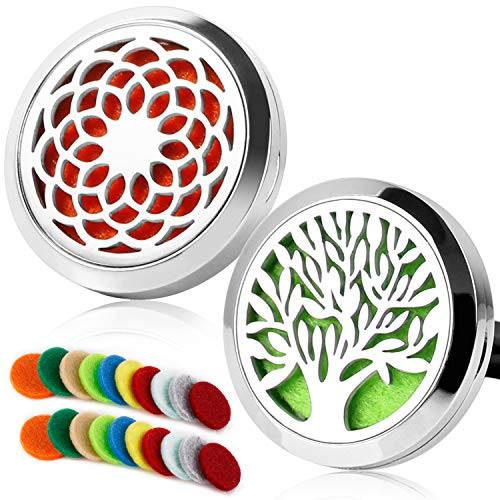 2 Pack Aromatherapy Essential Oil Car Diffuser with 20 Refill Pads, Car Diffuser Vent Clip Stainless Steel Locket