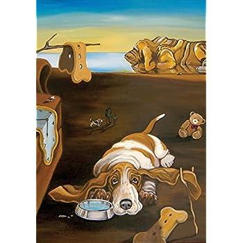 Toland Home Garden Salvador Doggy Basset Hound 28 x 40 Inch Decorative Puppy Dog Bone Artistic Dali House Flag