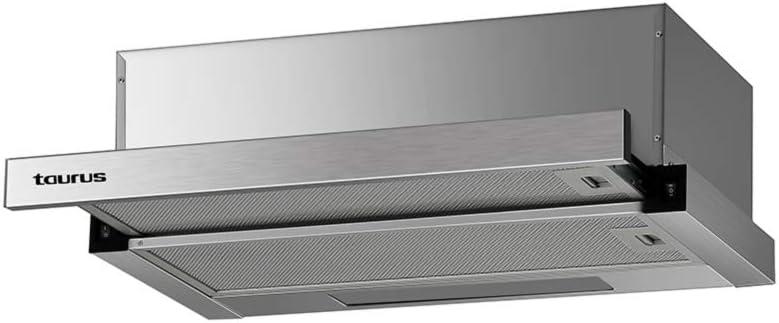Taurus Artis 60 Inox - Campana extractora telescópica de 60 cm, potencia de extracción 350 m3/h, 2 filtros de aluminio a 3 capas, acero inoxidable, color plata