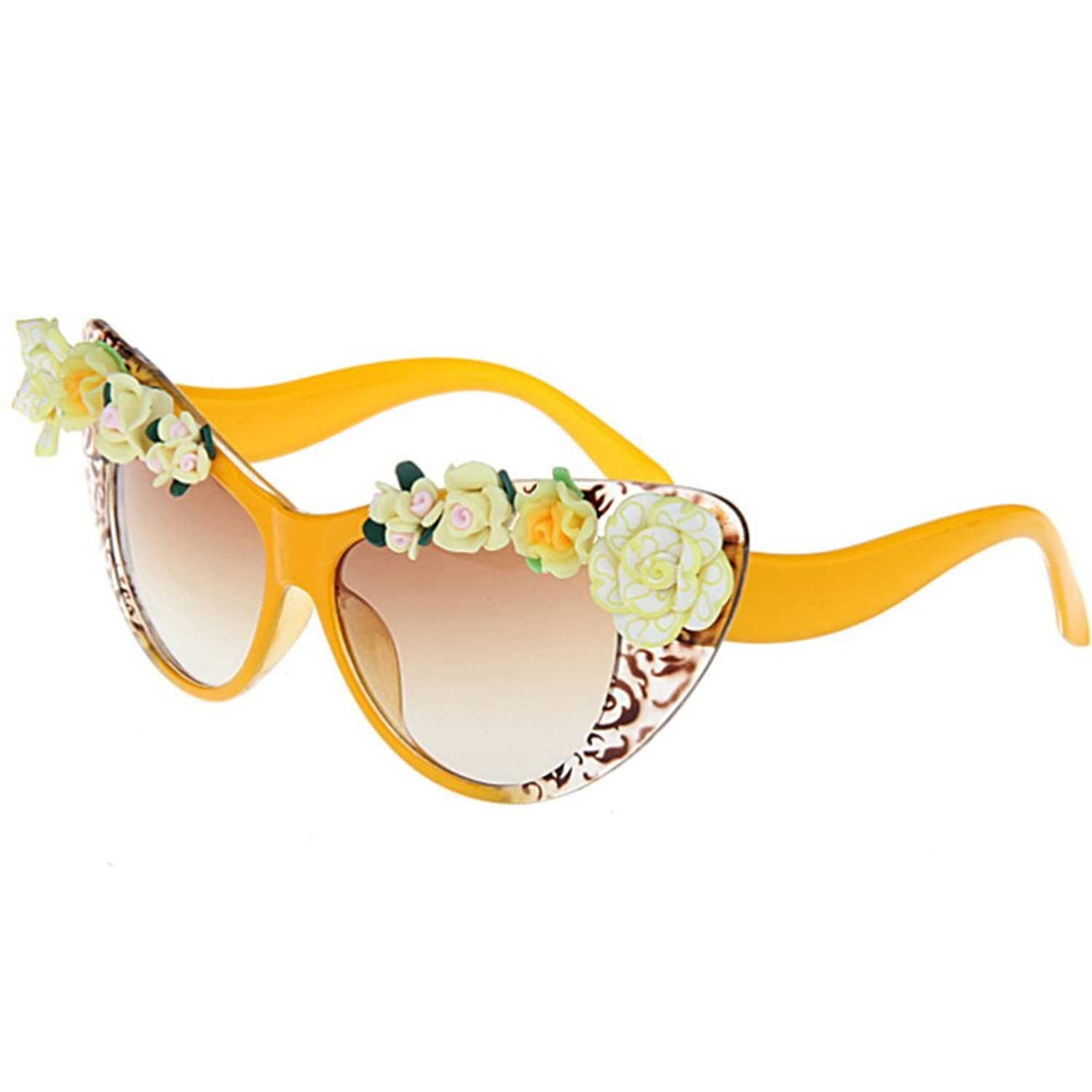 LuxuryEye Flower Fashion Summer Equipment Cute Women Girl Yellow Sunglasses