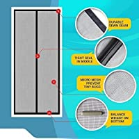 LifeKrafts Mosquito Screen Curtain for Main Doors, Balcony Doors Or Kitchen Doors; Mesh with Magnets - Black