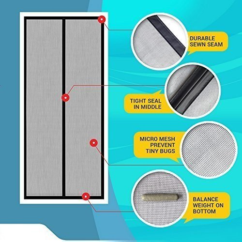LifeKrafts Mosquito Screen Curtain For Main Doors, Balcony Doors Or Kitchen Doors; (Size 210 * 90 Cms) Mesh With Magnets - Black product image