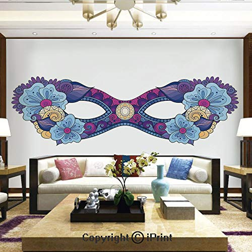 Lionpapa_mural Wall Mural Showing All They Beauty Extremely Detailed Image, Colored Carnival Mask with Flowers for Masked Ball Celebration,Home Decor - 66x96 inches ()