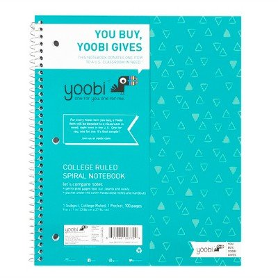 Yoobi153; Spiral College Ruled 1 Subject Notebook - Aqua Chevron, 8.5'' x 11'', 100 Sheets Aqua