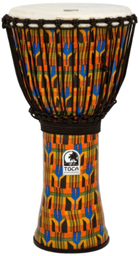 Toca SFDJ-12K Freestyle Rope Tuned 12-Inch Djembe - Kente Cloth (Toca Percussion)
