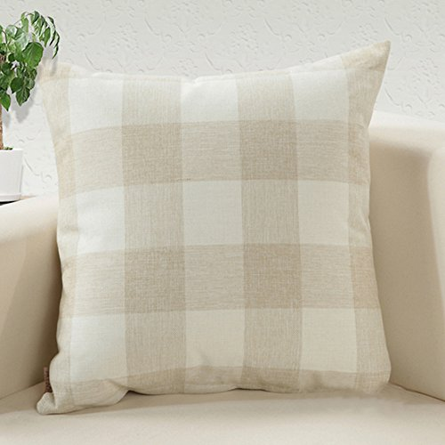 Doupoo Square Tartan Cotton Throw Pillow Case Plaids Cushion