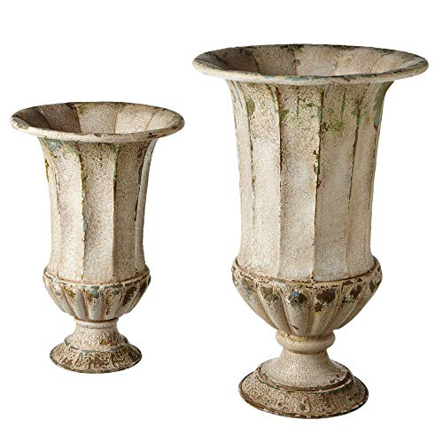 Diva At Home Set of 2 Antique-Style Distressed Finish Beautiful Ivory Urn Planter 24.25