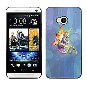Caucho caso de Shell duro de la cubierta de accesorios de protección BY RAYDREAMMM - HTC One M7 - Fairytale Creature Animal Colorful Unicorn Art