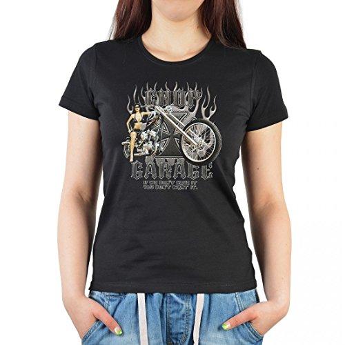 T-Shirt für Damen mit Biker Aufdruck - Motorrad Ladyshirt mit Motiv Chop Garage auch als Geschenk - Schwarz