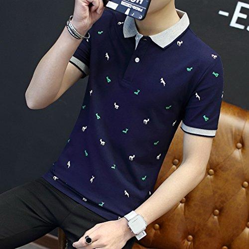 Courtes Sport shirt Foncé T Décontracté De Imprimé Chemise Travail Col Acmede Loisir Coton En Bleu Homme Manches Polo OnXxXF