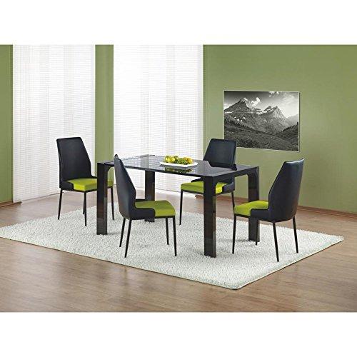 JUSThome Kevin Esszimmertisch Küchentisch Esstisch aus Glas Schwarz (LxBxH): 140x80x76 cm