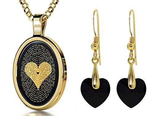 Gold Plated I Love You Necklace 120 Languages Inscribed Onyx and Crystal Heart Earrings Jewelry Set, 18