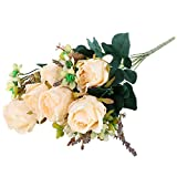 Soledi Beautiful Earl Rose Bouquet Charming Delightful Silk Flower Arrangement Large Palace Rose Artificial Flowers Hotel Wedding Home Decorative Flower Milk White