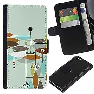 KingStore / Leather Etui en cuir / Apple Iphone 6 / Teal pintado marrón abstracto Hojas