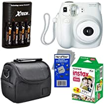 Fujifilm Instax MINI 7s Instant Film Camera (White) + Fujifilm Instax Mini Instant Film (20 sheets) + 4 AA High Capacity Rechargeable Batteries with Battery Charger + Camera Case + HeroFiber Ultra Gentle Cleaning Cloth