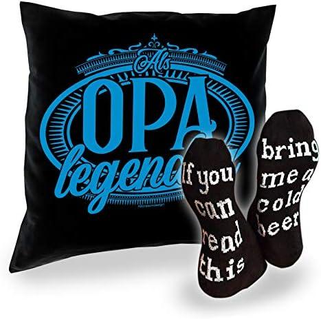Socken mit Spruch If you can read this - bring me a cold beer Herren und Kissen Als Opa legendär