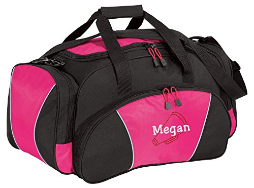 All about me company Metro Sport Duffel Bag | Personalized Megaphone Gym Bag (Tropical Pink) -