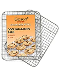 Goson Heavy Duty Stainless Stain Bakeware, Baking, Cooling, Oven Roasting, Broiler Rack, 8in by 10in, Cross Wire, Pack of 2, Compatible with Various Baking Sheets Oven Pans
