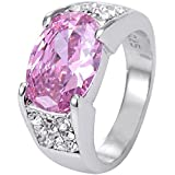 Fashion Pink Ruby Gemstones 925 Silver Wedding Engagament Ring (7)
