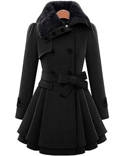 YOSICIL Femme Manteau Laine Parkas Trench-Coat Capuche Veste Épaise ... 911b6c8546ff