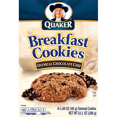 Quaker Breakfast Cookies, Oatmeal Chocolate Chip, 6 Cookies Per Box,net weight 10.1 ounce(288g), (Pack of 6) (Chocolate Chewy Chip Oatmeal)