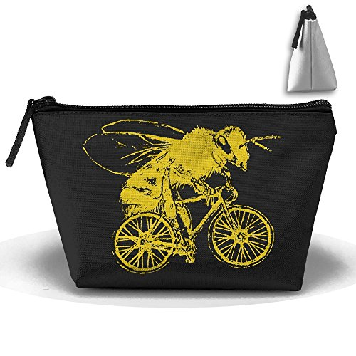 Baldwin Vanity (Bee On A Bike Trapezoid Travel Storage Pouch Oxford Cloth Comestic Bag Portable Handy Kit Packing Organizer 10