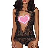 Kaitobe Sexy Lingerie for Women for Sex Ladies Lingerie Lace Eyelash Backless G-String Halter Babydoll Teddy Chemise Black